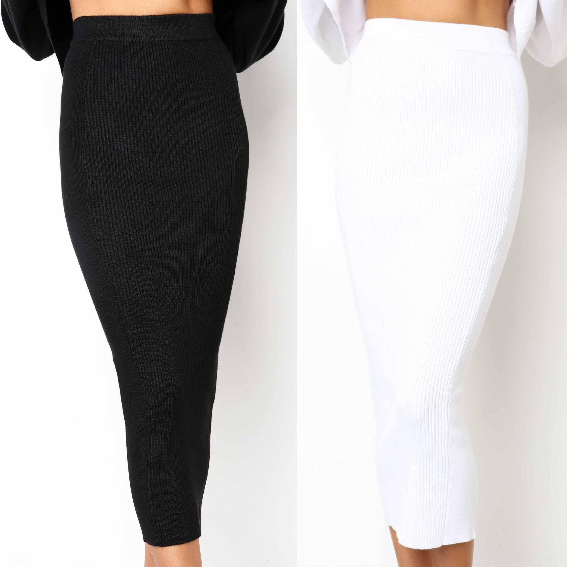 Knitted 2018 Autumn Bodycon Long Skirt Sexy Black White High Waisteavengifts-eavengifts