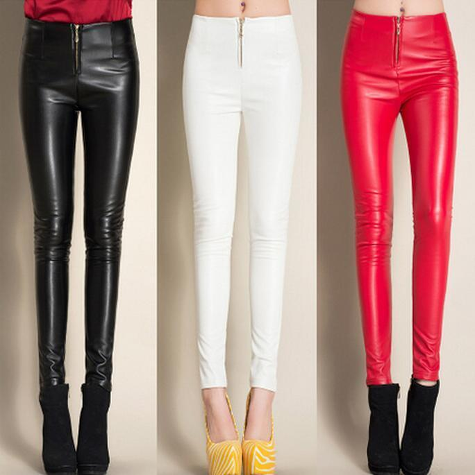 #0503 2018 Winter Black/White/Red Fleece Leggings Faux Leather pants Skinny PU Pencileavengifts-eavengifts
