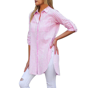 Fashion New Shirt Women Female Blusas Striped Long Sleeve Button Pocketeavengifts-eavengifts