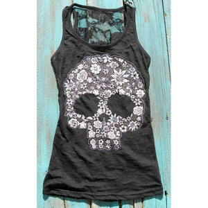 Hot Summer Tops Women Sexy Black Sleeveless Skull Lace Printed Caual Teavengifts-eavengifts