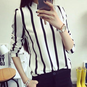 Office Lady Shirts Korean Style Women Hollow Out Long Sleeve Striped Chiffoneavengifts-eavengifts