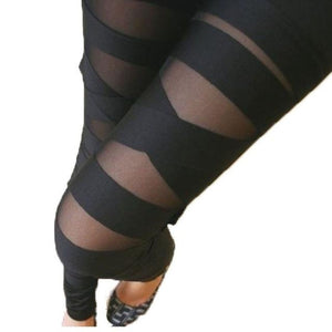 Fashion Mesh Hollow Out Stretch Leggings Womens Sexy Bandage Slim Ladies Pantseavengifts-eavengifts