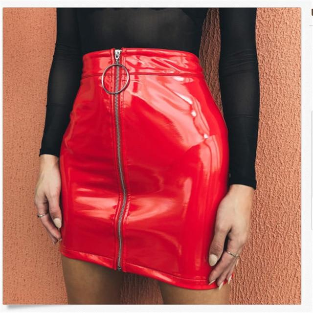 2018 New Fashion Skirt Women Zipper PU Leather Pencil High Waisteavengifts-eavengifts