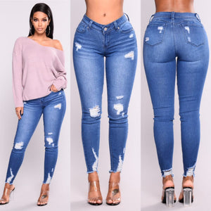 3xl Plus Size Light Blue Skinny Ripped Jeans For Female Women Mideavengifts-eavengifts
