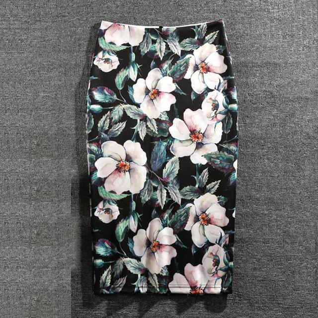 Women Skirts Print Flowers Fashion Pencil Skirt Casual Skirts Plus Size Faldaseavengifts-eavengifts