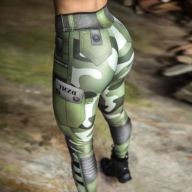 Women Muscle Leggings Army Green Camouflage Printed Sporting Leggings Female Push Upeavengifts-eavengifts