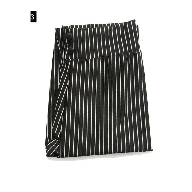 Striped Elastic High Waist Pants Female Button Decoration Slim Long Trouserseavengifts-eavengifts