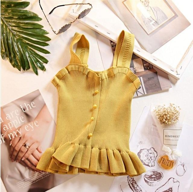 Women Knitting Ruffles Buttons Cropped Tanks Tops Girls Knitted Sweet Chic Teeeavengifts-eavengifts