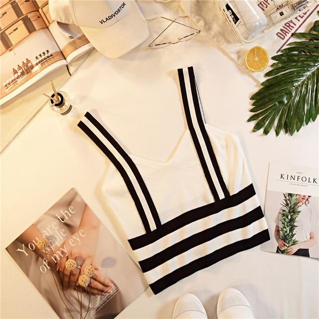 Summer Women Fashion Knitting Stripe Tank Crop Tops Female Knitted Stretchy Croppedeavengifts-eavengifts