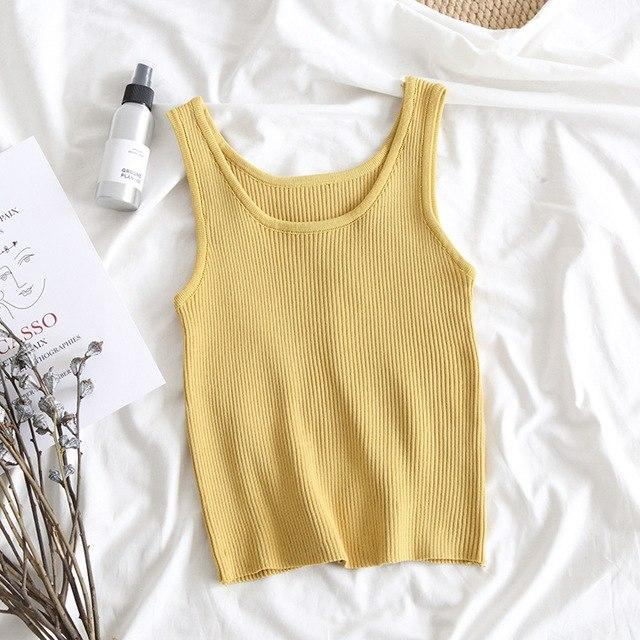 Crop Top 2018 Sleeveless Knit Tank Tops Women's Tank Tops Workout Solideavengifts-eavengifts