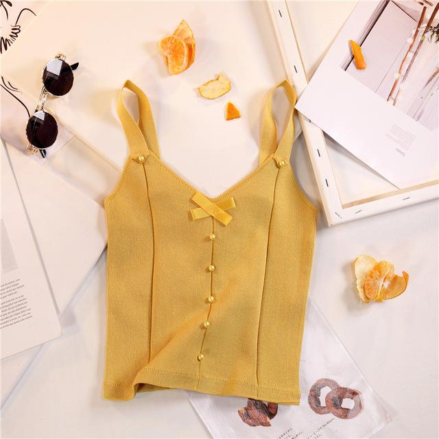 Women V-neck Lace Up Buttons Cropped Camis Tops Girls Knitted Stretchy Sleevelesseavengifts-eavengifts