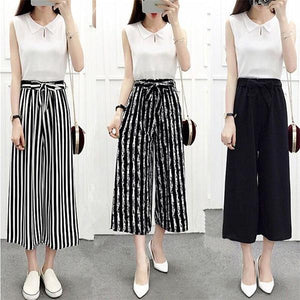Newly Womens Wide Leg High Waist Casual Summer Thin Pants Loose Culotteseavengifts-eavengifts