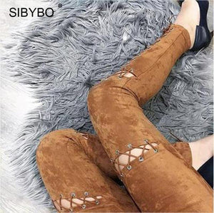 Faux Suede Cross Lace Up High Waist Pants Autumn Women Sexyeavengifts-eavengifts