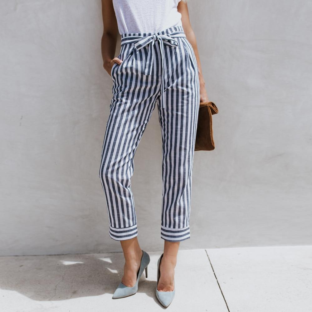 High Waist Slim Stripe Trousers Fashion Women Fashion Casual Leg pantalon femmeeavengifts-eavengifts
