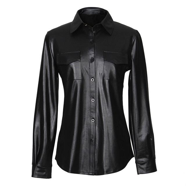 FeiTong PU leather blouses women sexy Long sleeves buttons womens tops andeavengifts-eavengifts