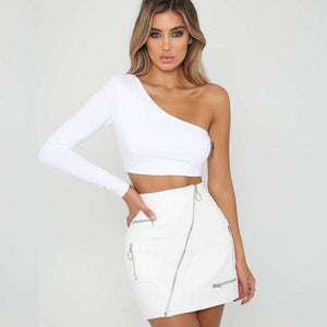 Oufisun One Shoulder Slope Neckline T Shirt Sexy Solid Long Sleeve Women'seavengifts-eavengifts
