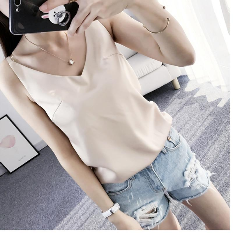 Satin V Neck Camisole Tops Casual Summer Women Sexy Sleeveless Solid Coloreavengifts-eavengifts