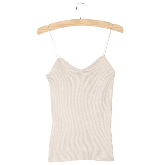 Knitted Tank Tops Bra Women Camisole Simple Vest Stretchable V Neck Slimeavengifts-eavengifts
