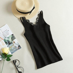 Summer Tank Tops Women V Neck Strap Lace Top Sexy Female Slimeavengifts-eavengifts