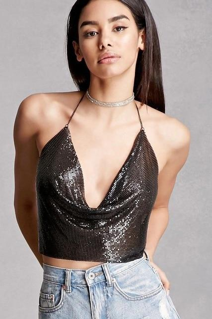 Women Shiny Metal Crop Backless Summer Beach Party Club Sequin Tops Vesteavengifts-eavengifts