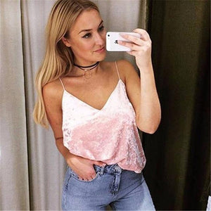 Women Sleeveless Tank Tops Fashion Sexy Autumn Winter Female V-Neck Velvet Camisoleeavengifts-eavengifts
