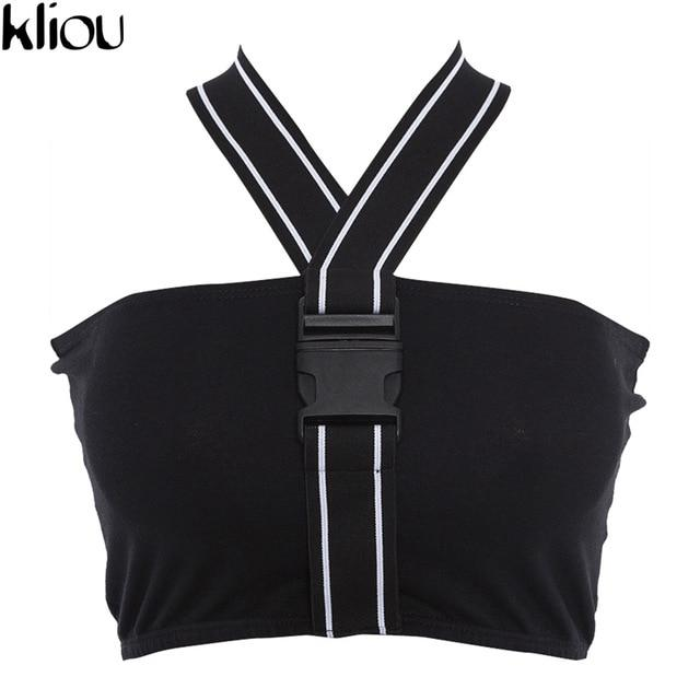 Kliou 2018 Sexy Halter Neck Button Camis Casual Striped Vest Summer Womeneavengifts-eavengifts