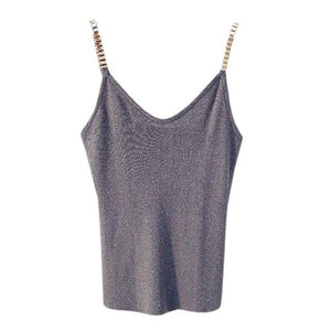 Sleeveless Tank Tops Sexy Women V-Neck Knitted Camisole Club Spaghetti Metal Strapeavengifts-eavengifts