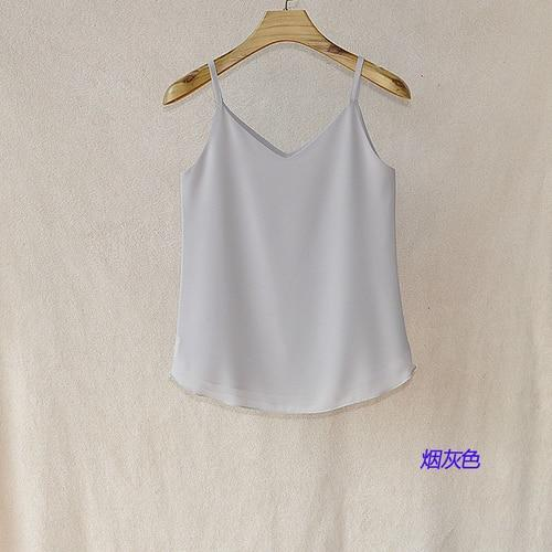 Fashion Women Brand Summer Sexy Low-cut Tanks Top sleeveless V-neck Chiffon blouseeavengifts-eavengifts