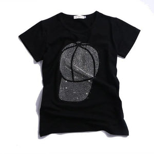 black Hot drilling T-shirt women 2018 summer new Short sleeve Pure cottoneavengifts-eavengifts