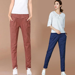 Harem Pants Women Cotton and Linen Retro Pantyhose Ankle-length Trousers Female Classiceavengifts-eavengifts
