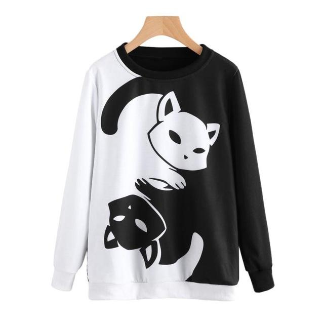 New New Design Womens Cat Printing Long Sleeve Sweatshirt Pullover Tops Blouseeavengifts-eavengifts