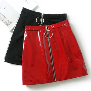Women Skirt Casual Zip Faux Leather Pencil Bodycon Above Knee Mini Skirteavengifts-eavengifts