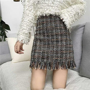 2018 Women Woolen Mini Skirt Autumn Winter Vintage Straight Plaid Tassel Skatereavengifts-eavengifts