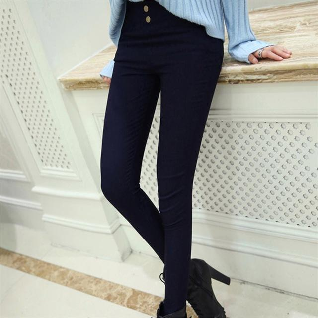 Summer women's High Waist with 3 Button Decoration skinny Ankle-length Bottoming Pantseavengifts-eavengifts