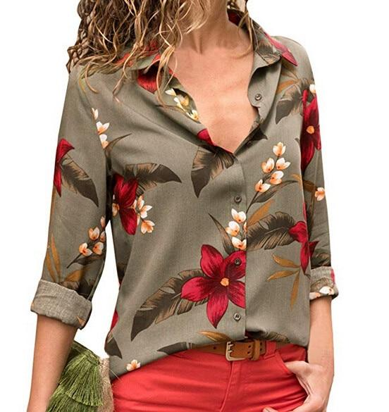 2018 Summer Blouse Women Shirt Long Sleeve V-Neck Printed Button Topseavengifts-eavengifts