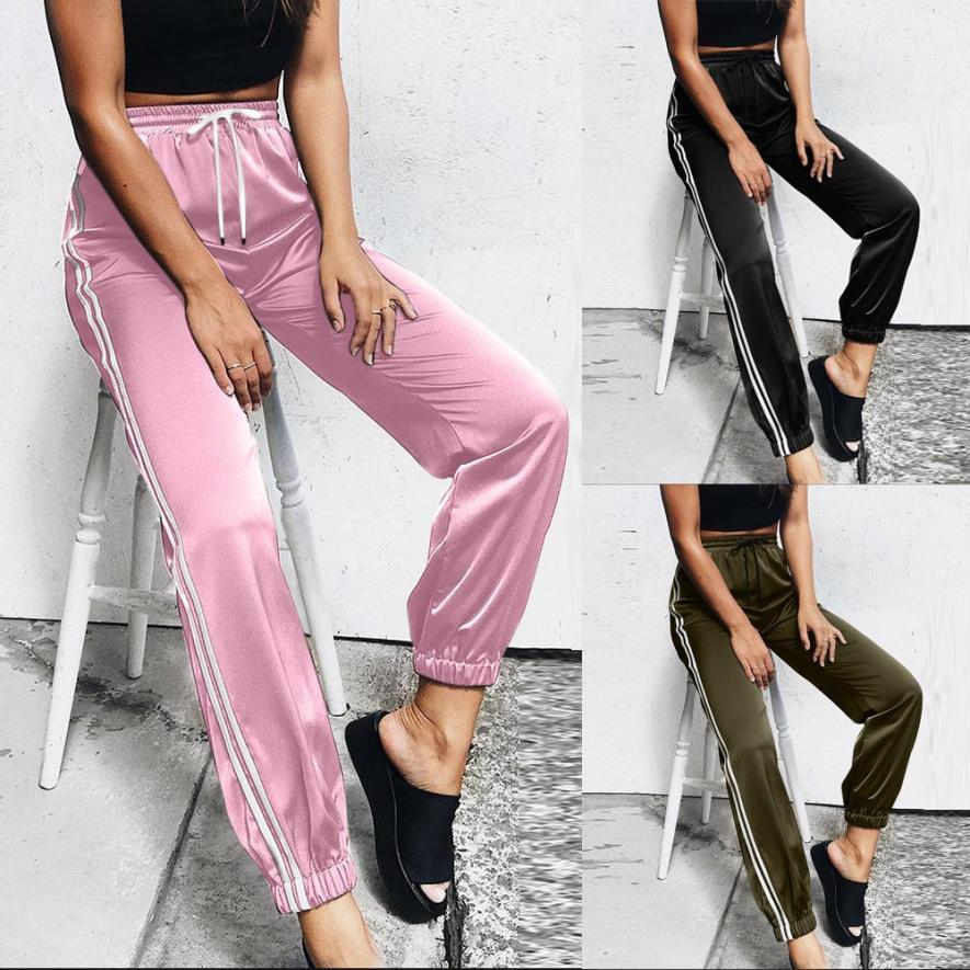 Woman jeans 2018 Fashion Womens Casual Bandage Stripe Trousers Elastic Ankleeavengifts-eavengifts