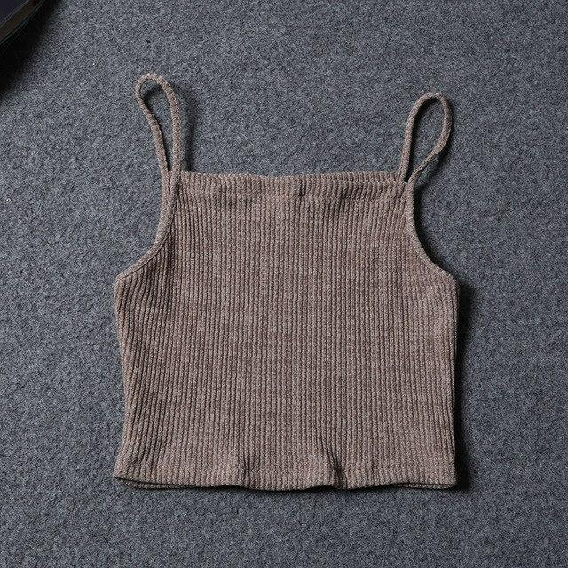 Fashion Cropped Women Knitted Tank Top Summer Sleeveless Casual Camisole Vest Cropeavengifts-eavengifts