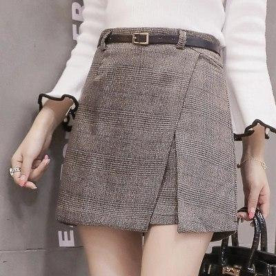 Vintage plaid mini skirt women a line slim package hip skirts witheavengifts-eavengifts