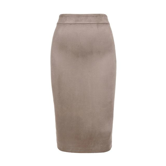 Gumprun 2018 New Two-way Zipper Through Pencil Skirt Autumn Suede Midi Skirteavengifts-eavengifts