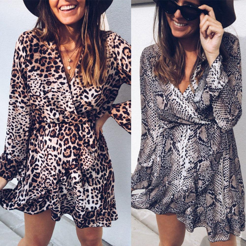 Women Lady Leopard Snakeskin Skirts Long Sleeve Evening Party Cocktail Short Minieavengifts-eavengifts