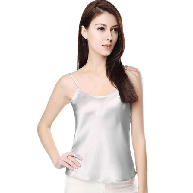 Women Summer Sexy Faux Silk Sleepwear Strappy Tank Tops Sleeveless Solid Coloreavengifts-eavengifts