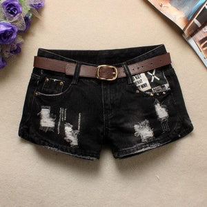 Vintage black Ripped Jeans short women Sexy hole high waist denimeavengifts-eavengifts