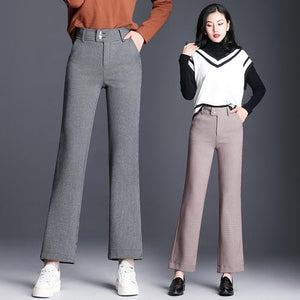 In The Form Of Lattice, Leisure, Wide Leg Pants, Female Nine Points,eavengifts-eavengifts