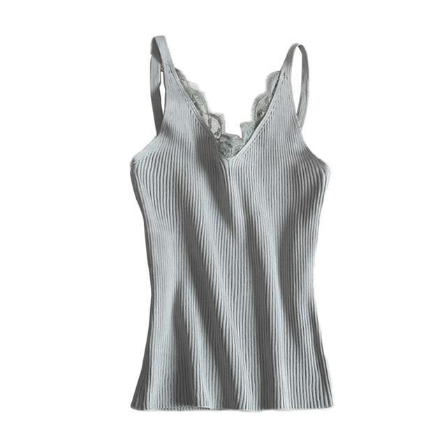 Fashion Women V-neck Vest Camisole Casual Tops Sling Tank Tops Knit Vesteavengifts-eavengifts