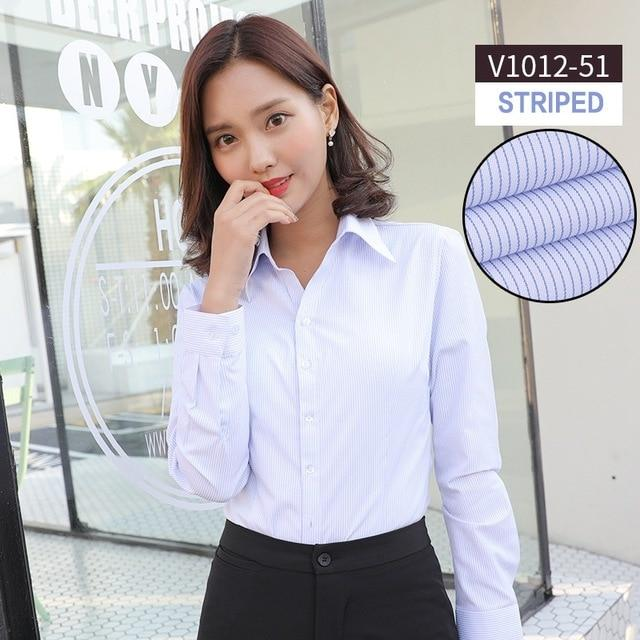 Women blouse long sleeve shirts solid color office social shirts white coloreavengifts-eavengifts