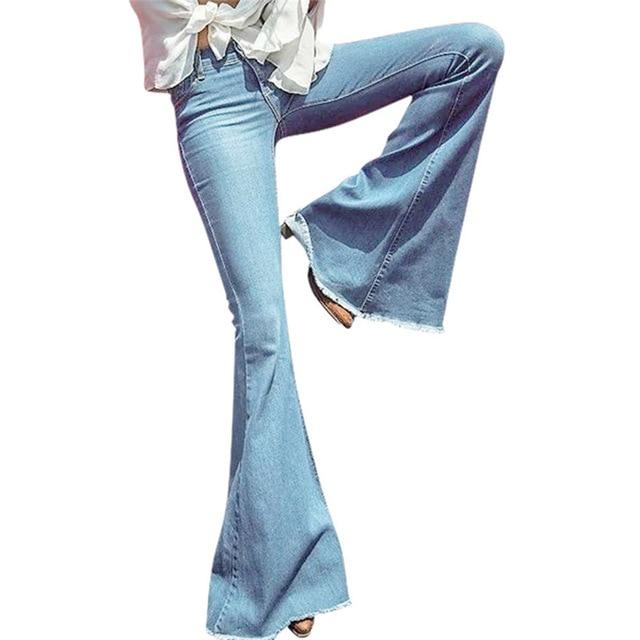 Spring Autumn Mid Waist Flare Jeans Pants Stretch Skinny Jeans Women Wideeavengifts-eavengifts