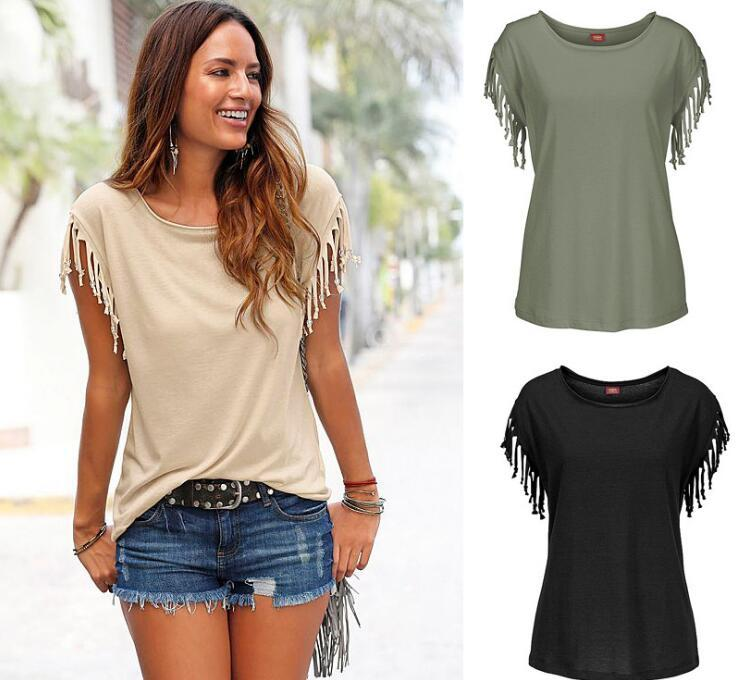 2018 Women's T-Shirt Plus Size Summer Top Tassel T-Shirt Solid Short Sleeveeavengifts-eavengifts