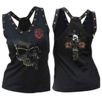 crop top 2019 Women's Summer Flower Printed Sleeveless Tops Skull Prints Casualeavengifts-eavengifts