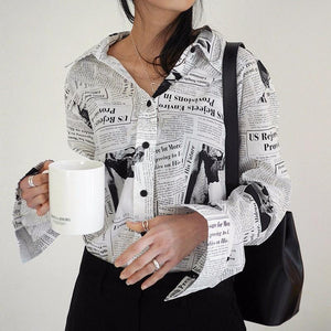 Black white Letter poster Printed Loose Casual Long Sleeve Shirt Female's Blouseeavengifts-eavengifts