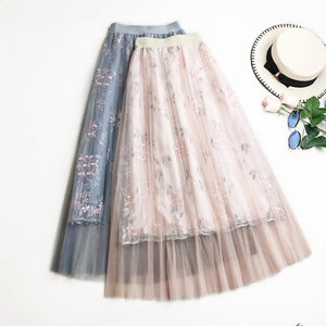2018 Summer Floral Embroidery Tulle Skirts High waist A word Long skirteavengifts-eavengifts